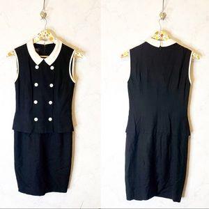 Brooks brothers black white sheath dress size 4